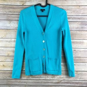 Talbots Ribbed Cardigan Gold Trim Button - A33